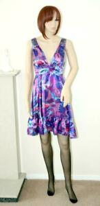 SEXY PURPLE MIX LIQUID SATIN SLINKY SWISHY SWING TEA DRESS size 16