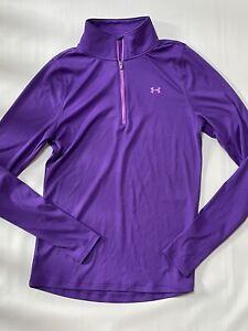 UNDER ARMOUR Purple 1/4 Zip Heat Gear Long Sleeve Shirt GREAT!!
