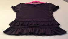 Marc by Marc Jacobs Women's Blouse Short Sleeves XS Black Rayon and Nylon