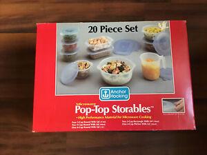 Vintage Anchor Hocking Pop Top Storables 20 Piece Set Microwave Plastic USA