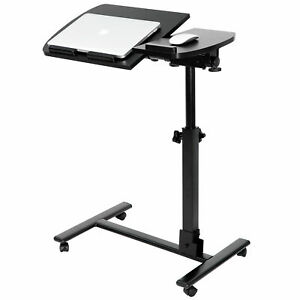 Laptop Desk Angle Height Adjustable Rolling Cart Over Bed Hospital Table Stand