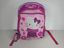 Hello Kitty Sanrio Canvas Book Travel Bag Backpack + Coin Purse Damaged Lining