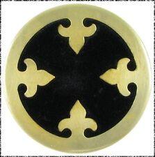 Large Antique French Velvet in Metal Button w/ Fleur De Lis Pattern