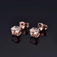 Elegant Bridal Champagne Cubic Zirconia CZ Rose Gold Ear Stud Earrings Jewelry