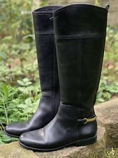 Tory Burch Jess Tall Riding Boots Black Size 7 Gold Heel Spur Logo Worn Once!!