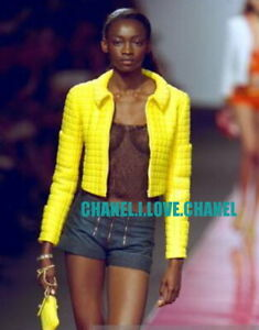CHANEL ICONIC VINTAGE YELLOW BOMBER QUILTED JACKET COAT,38/40,COLLECTOR'S PIECE!