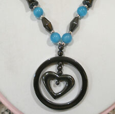"""HEMATITE BLUE CATS EYE BEADED HEART PENDANT NECKLACE MAGNETIC CLASP 18""""LONG"""