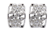 CLIP ON EARRINGS - silver plated earring with clear crystal leaves - Verity