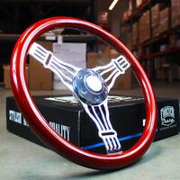 "15"" Chrome Banjo Steering Wheel Wood Grip Truck Chevy GMC Nova C10 - 6 Hole"