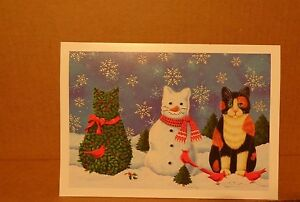 New Christmas Greeting Card~ Snowman Cats Unused