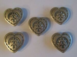 Set of 5 Vintage Southwest Heart Button Covers Possible Sterling Silver