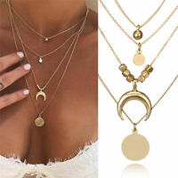 Boho Women Multi-layer Long Chain Horn Pendant Crystal Choker Necklace Jewelry