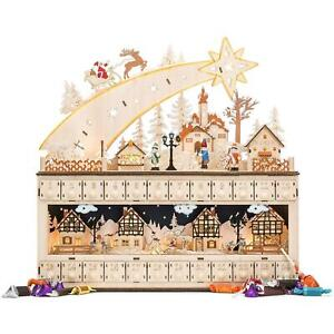 Wooden Shooting Star Advent Calendar Christmas Themed With Led Light Background
