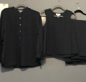 Talbots Navy 3-Piece Pants Suit Set /Small Petite Top/ Shell& Pants/ Lightweight