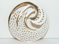 Vintage MONET Gold Tone and White Circle Pin Brooch I2