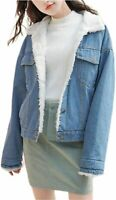 Omoone Women's Vintage Lapel Sherpa Fleece Lined Loose, Light Blue, Size X-Large