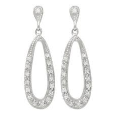 Open Pear Dangle Earrings Sterling Silver White Cubic Zirconia