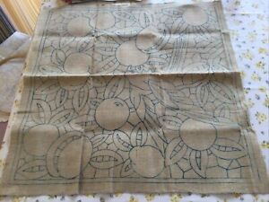 Vintage Coarse Irish Linen In Biscuit Shade With Stamped Pattern To Embroider