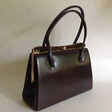 1960s Brown Synthetic Vintage Handbag With Elbief Frame Satin Lining Mad Men