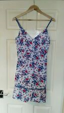 Womens White, Red and Blue Floral Print Saltrock Cotton Dress. Size 14.