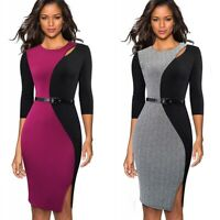 Womens Elegant Colorblock Work Business Office Party Bodycon Pencil Sheath Dress