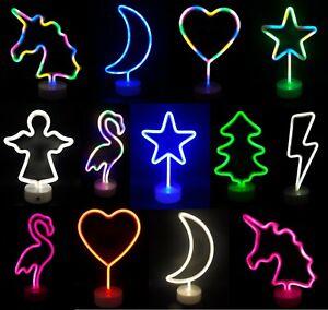 LED Neon Lamp Deco Night Light Flamingo Angel Heart Unicorn Fit Tree Floor Lamp