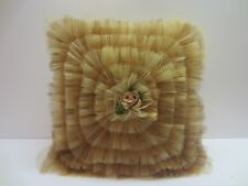 Vtg Retro Rose Ruffle Hand Made Bed Couch Sofa Throw Pillow