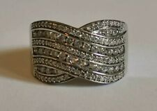 DIAMOND TWIST WHITE gold BAND RING 18ct chunky sparkler round brilliant cut