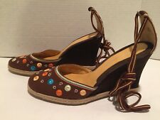 Via Spiga Grace Pumps Wedge Espadrilles Suede Fabric Embroidered Brown 10 M Nice