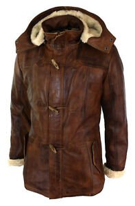 Men's Brown 3/4 Tan Hooded Safari Fur Winter Long Real Leather Jacket - N1