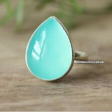 Aqua Chalcedony stone Solid 925 Sterling Silver Band Ring Handmade All Size L-01