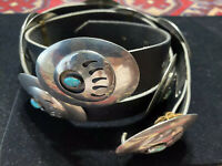 Vintage Navajo turquoise sterling bear claw design concho Belt