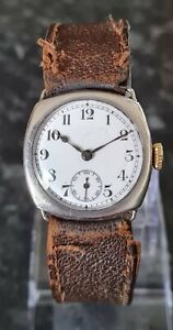 Solid Silver Gents Vintage Swiss Made Trench Watch Cased By Dimier Brothers.