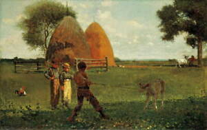 Winslow Homer Weaning the Calf Poster Reproduction Paintings Giclee Canvas Print