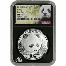 2018 China ¥10 Silver Panda NGC MS70 First Day of Issue Black