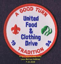 """LMH PATCH Badge  BOY GIRL CUB SCOUTS  1994 BSA GSA UNITED FOOD CLOTHING Drive 3"""""""