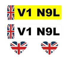 2 x Number Plate Stickers Union Jack + 2 x Heart Union Jack Flags (I Love GB)