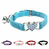 Heart charm and bell cat collar safety elastic adjustable with soft velvet U3S3