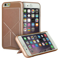 iPhone 6 PLUS Case Hard Rubber Leather Protective Cover Foldable Stand Rose Gold