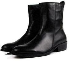 Men's Real Leather Block Pointy Toe Zip Mid Calf Boot chukka Cowboy Shoes