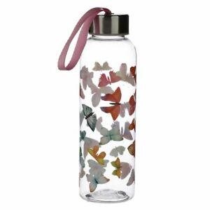 NEW Rainbow Butterflies Reusable Water Bottle w/ Metallic Lid & Nylon Handle