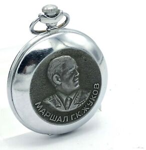 Russian Vintage Pocket Mens Watch MOLNIJA Marshal Zhukov Mechanical Collectible