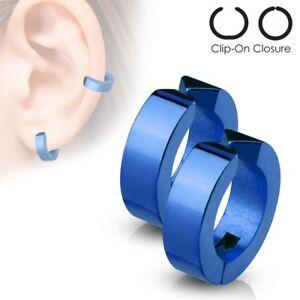 316L Stainless Steel 4mm Simple Huggie Non Piercing Cuff Earrings (Choose Color)