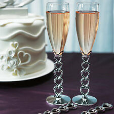 Silver Plated Stacked Hearts Wedding Toasting Flutes Weddingstar