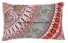 Pure Cotton Bed Pillow Case Rectangle Cushion Cover Indian Elephant Mandala Boho
