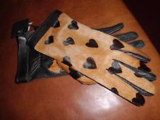 Burberry Prorsum Camel/Black  Heart Printed Calf Hair and Leather Gloves Sz 7.5