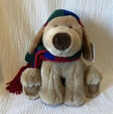 "10"" Plush Gund Dog Sno' Cap 1026 Wearing Hat & Scarf Tag"