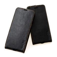Leder Cover für Apple / Samsung / Huawei  Smartphone Handy Schutzhülle schwarz