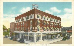 Automobiles Carthage Missouri Drake Hotel roadside 1940s Postcard Teich 20-7692