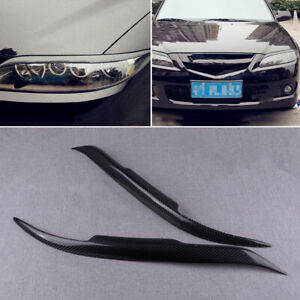 1Pair Carbon Fiber Black Headlight Eyebrow Cover Trim Fit for Mazda 6 2003-2008